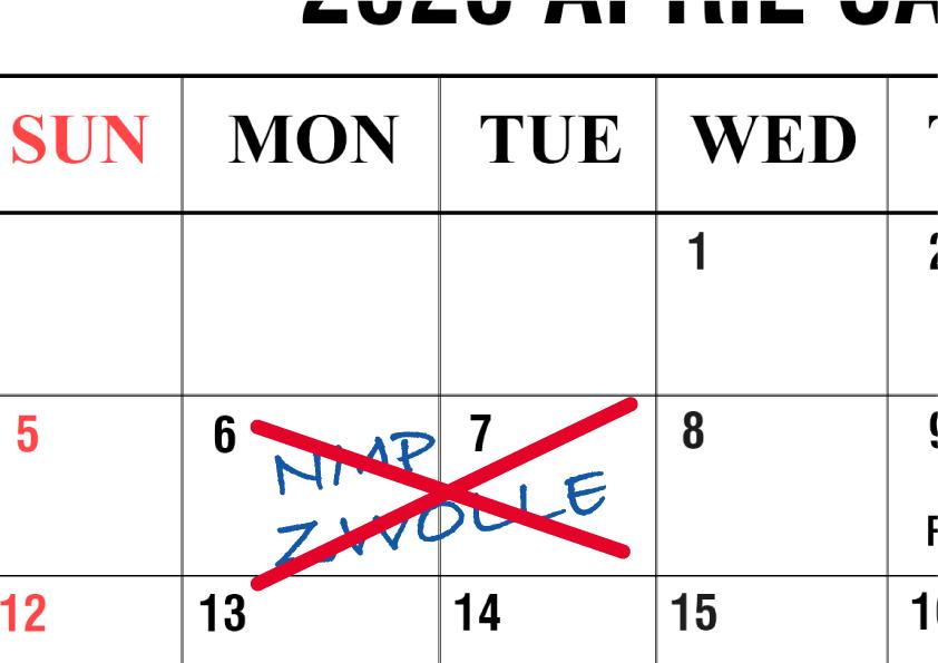 Studietweedaagse op 6 en 7 april is afgelast